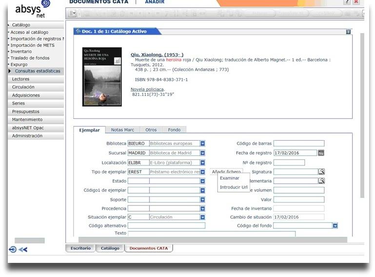 Generación del ejemplar virtual en AbsysNet