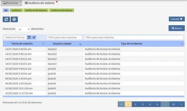 Datos Auditoría del sistema Archivos Albalá