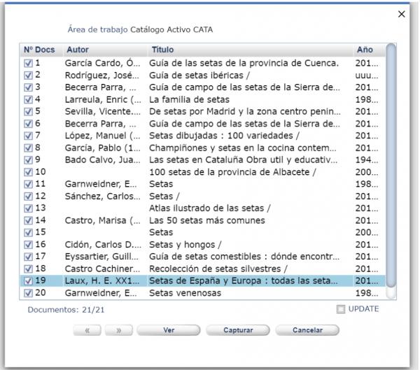 Área de trabajo catálogo activo CATA AbsysNet 2