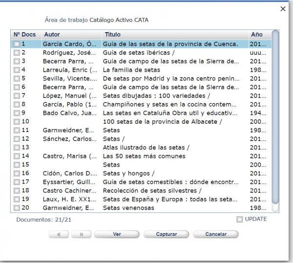 Área de trabajo catálogo activo CATA AbsysNet