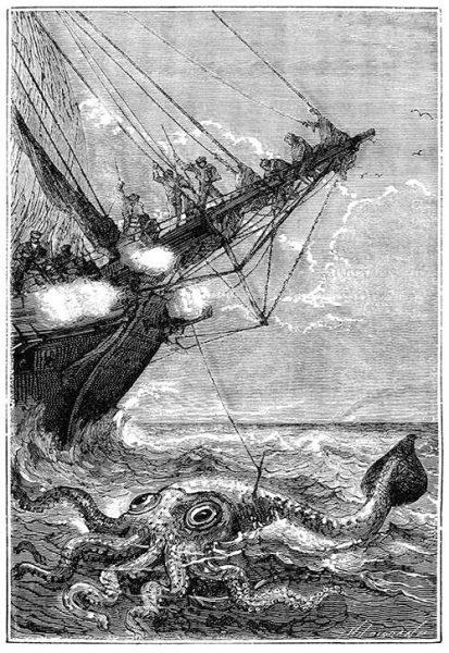 Ilustración Jules Verne - Veinte mil leguas de viaje submarino