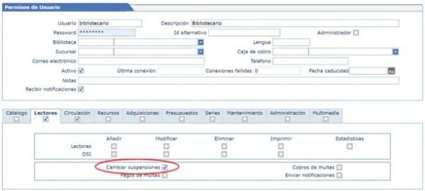 Cambiar suspensiones de prestamo bibliotecario en AbsysNet