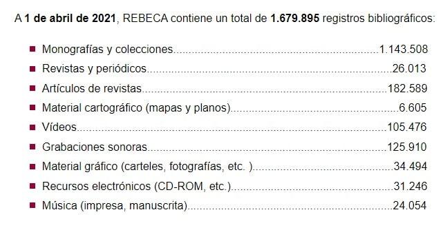 Contenido de Rebeca base datos registros bibliográficos