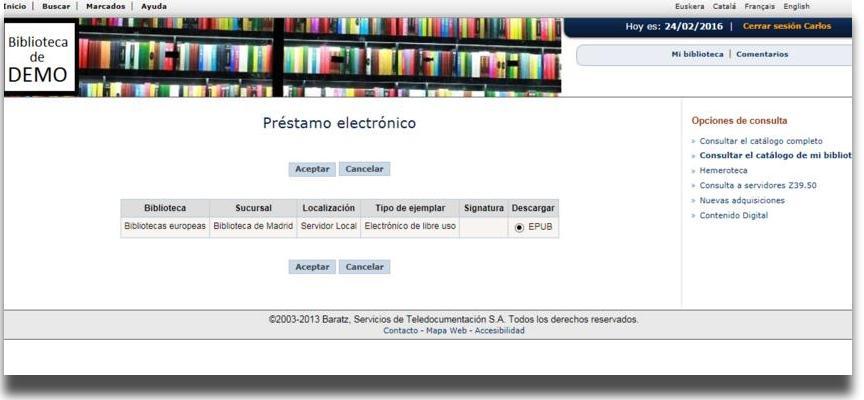 """""""Préstamo electrónico"""" y selección del ejemplar a prestar"""