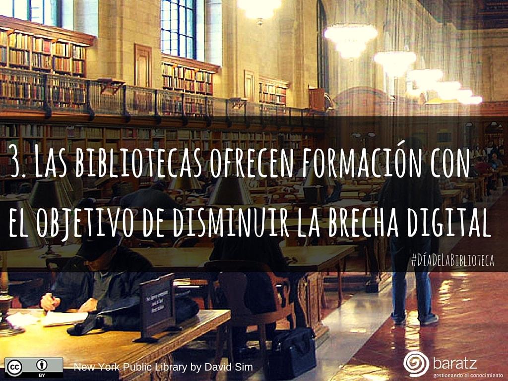 3. Las bibliotecas ofrecen formación con el objetivo de disminuir la brecha digital