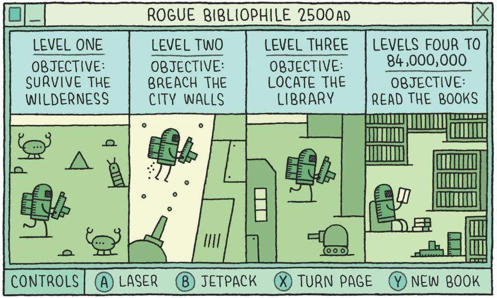 A rogue bibliophile in 2500AD