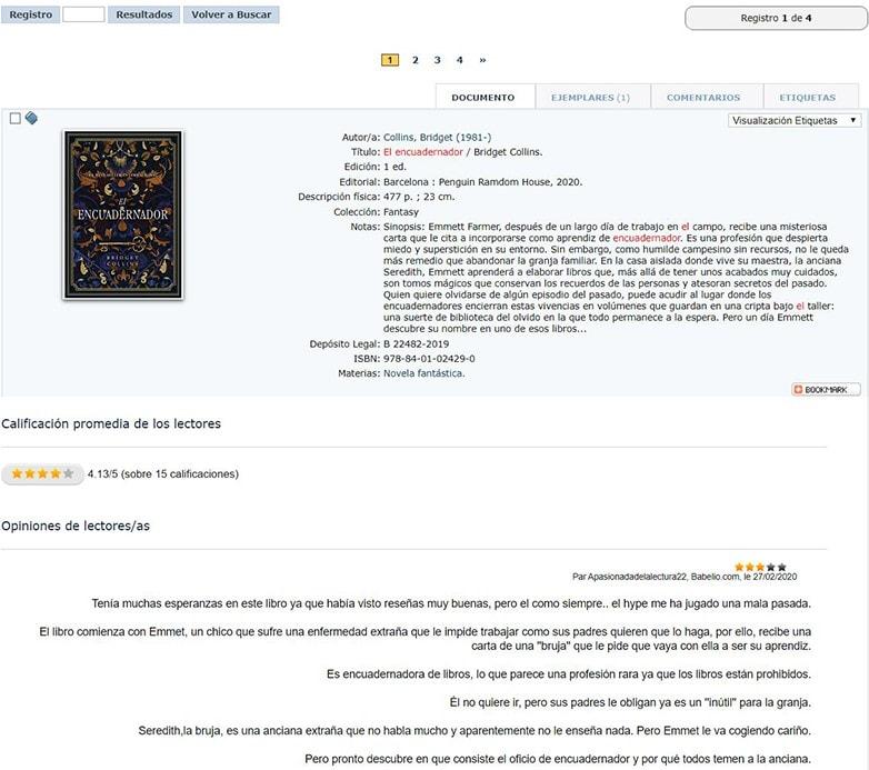 Contenidos de Babelio sobre El encuadernador, Bridget Collins,  Plaza&Janes, Enero, 2020., en el catálogo de la Red de Bibliotecas de Canarias.