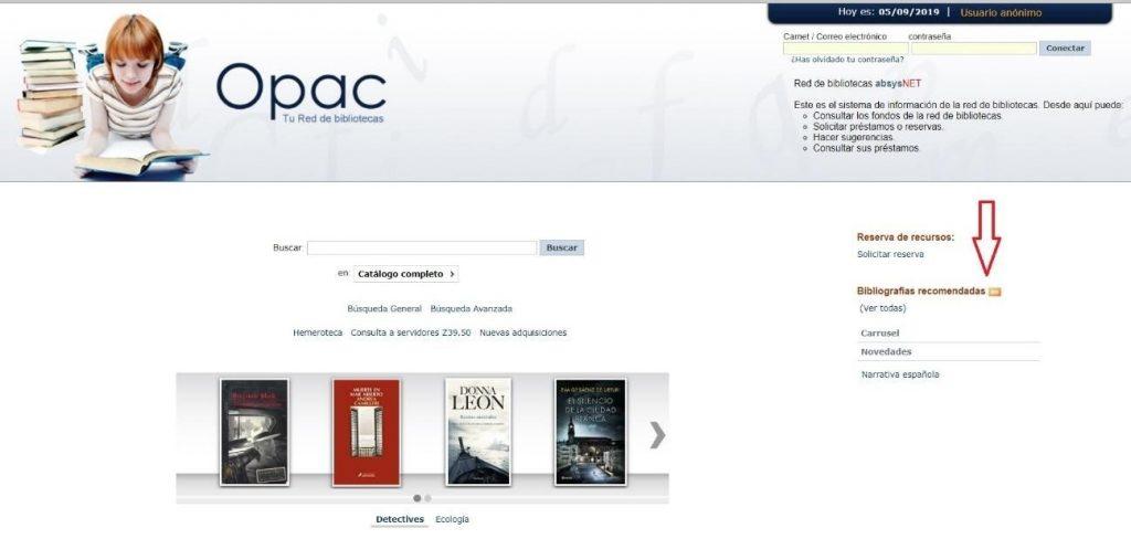 Bibliografía en opac AbsysNet biblioteca