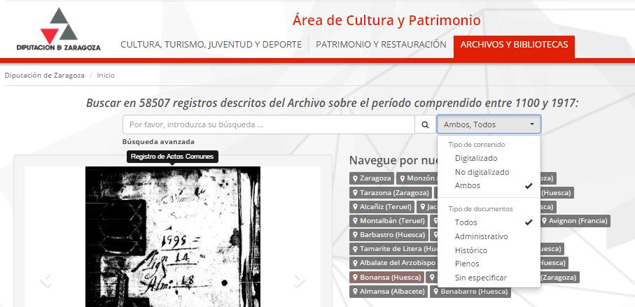 Búsqueda libre en el MediaSearch de la Diputación de Zaragoza