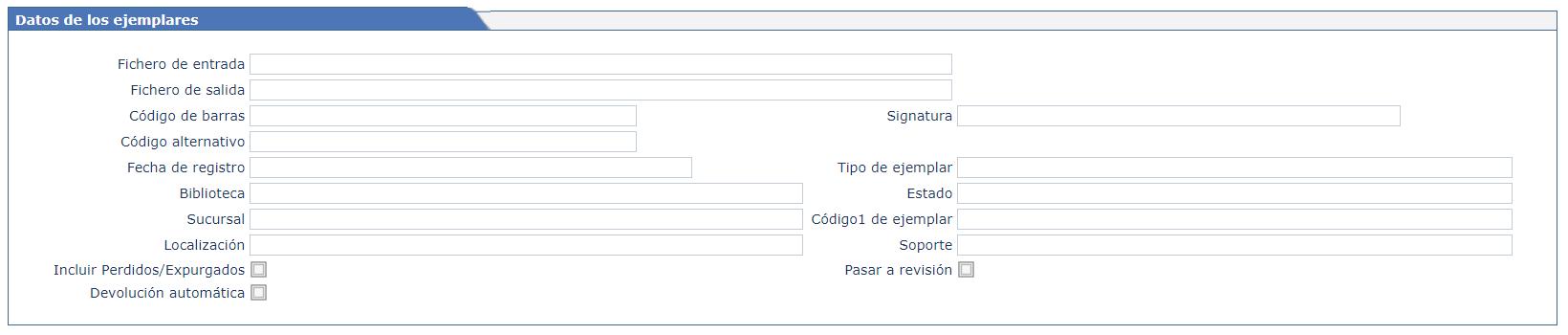 Campos que aparecen en la pantalla del inventario de AbsysNet