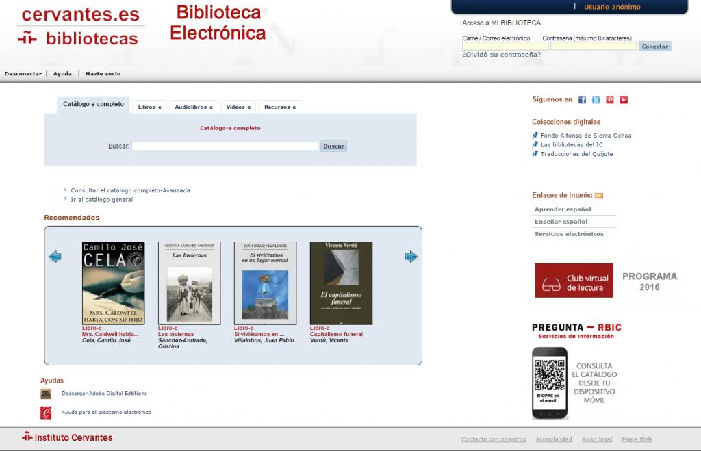 Catálogo AbsysNet de la Biblioteca electrónica del Instituto Cervantes
