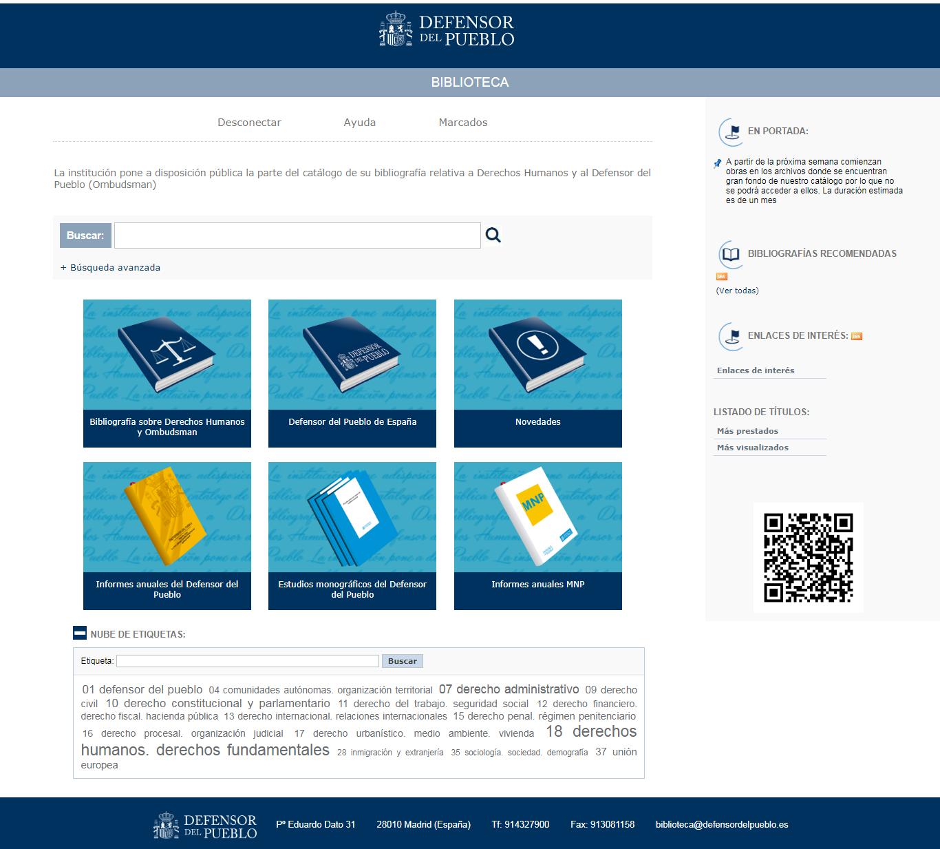 Catálogo de la Biblioteca del Defensor del Pueblo