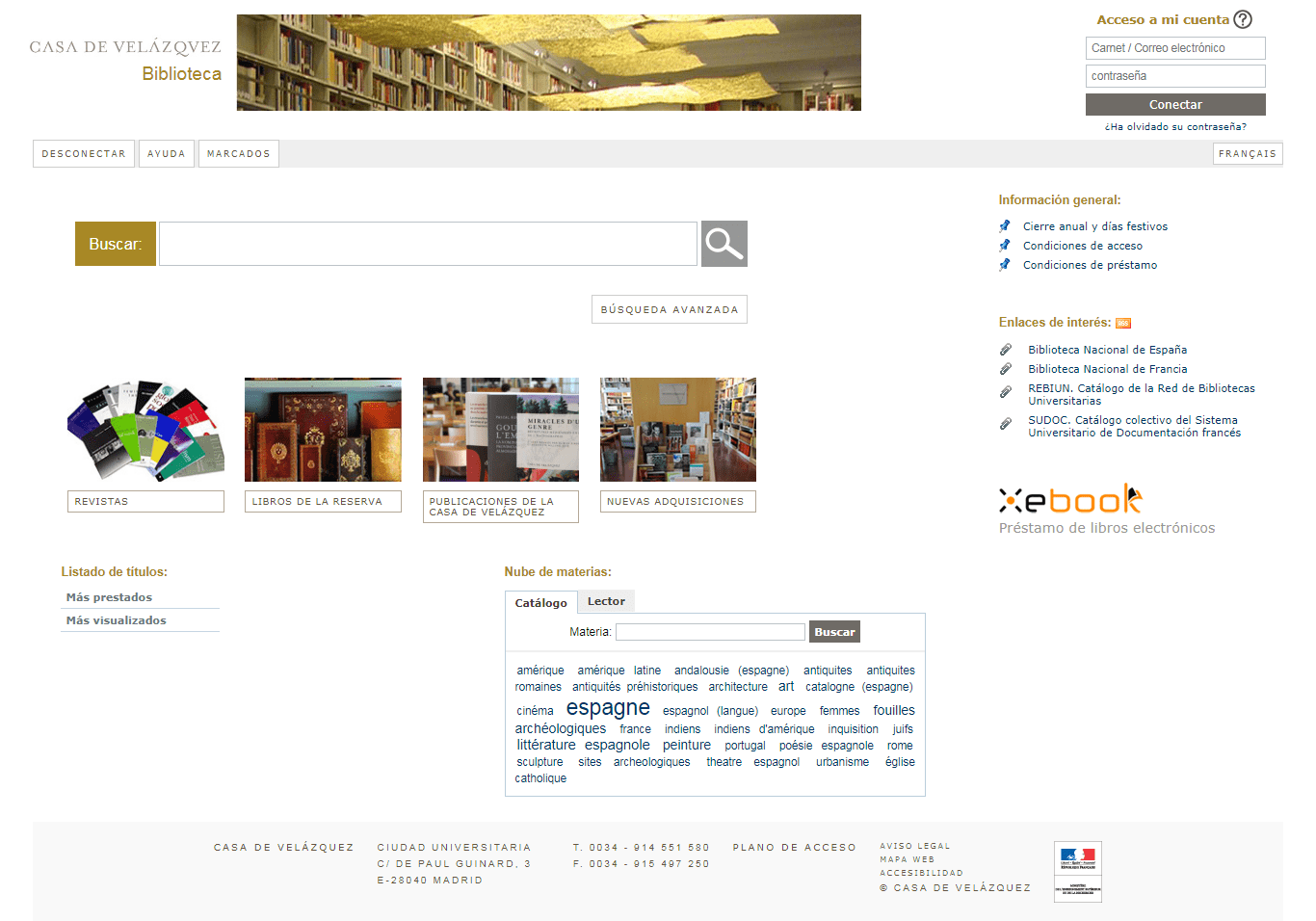 Catálogo Biblioteca Casa de Velázquez