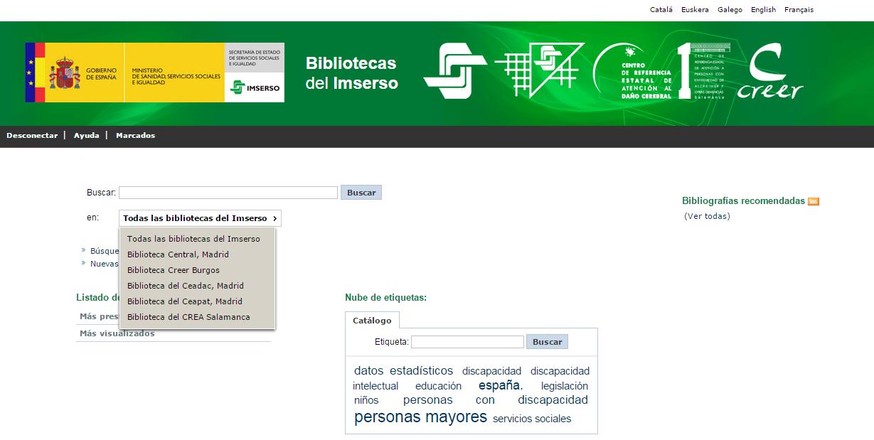 Catálogo Bibliotecas Imserso