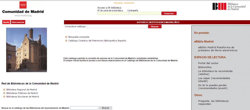 Catálogo autoridades de la Comunidad de Madrid