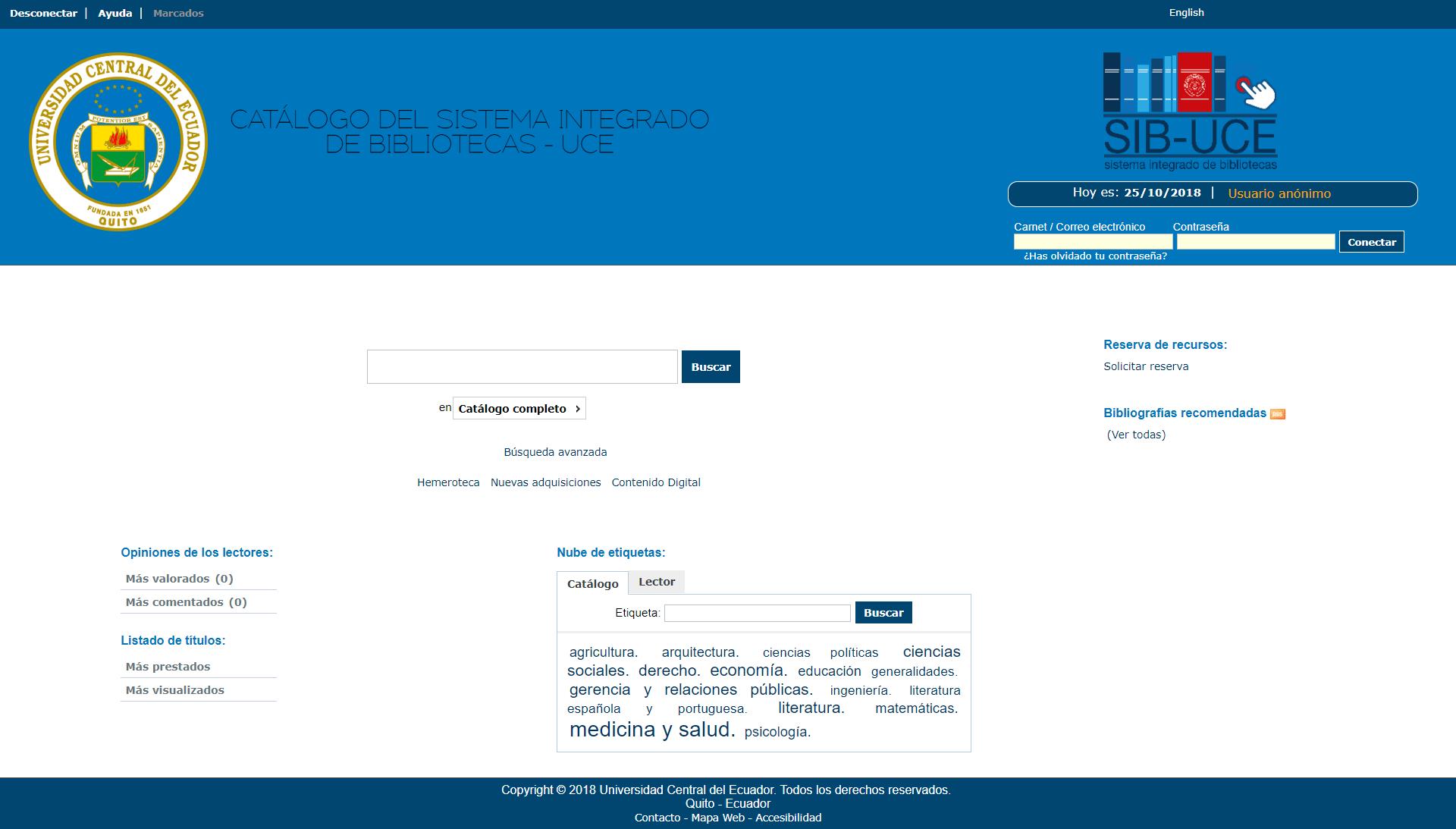 Catálogo del sistema integrado de bibliotecas - UCE