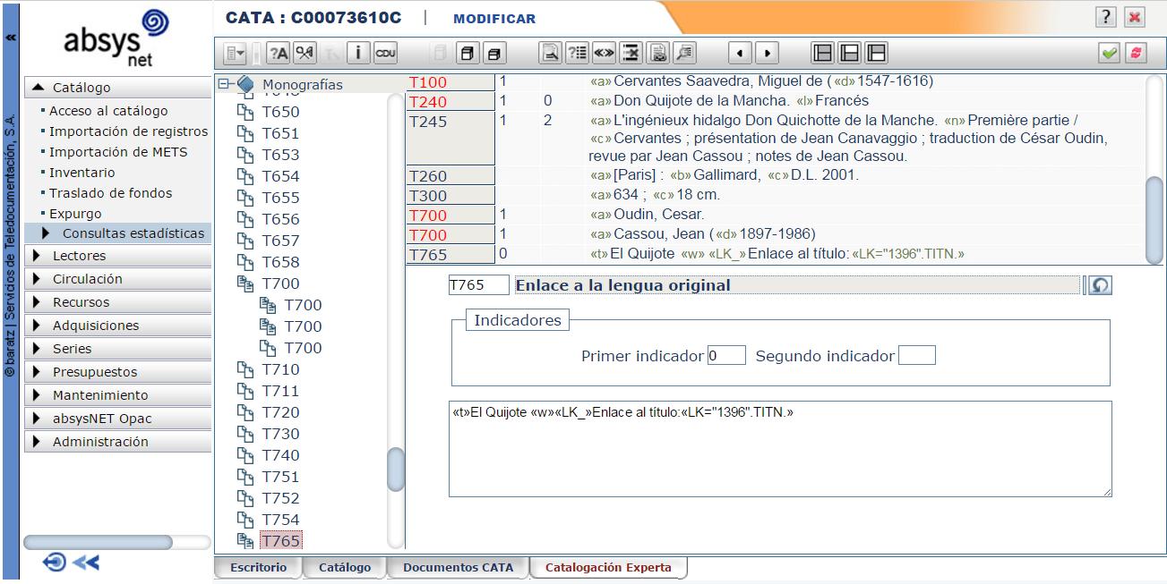 Creación de enlaces automáticos a un título determinado