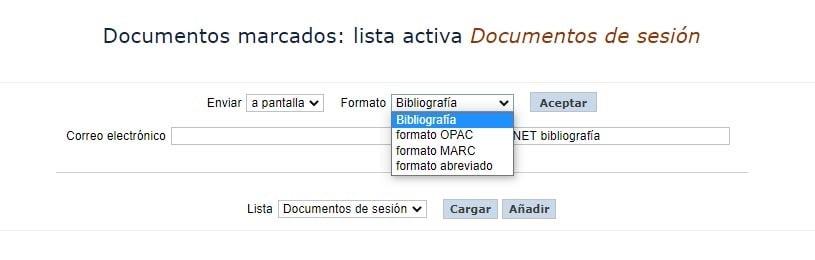 Documentos marcados lista activa Documentos de sesión AbsysNet