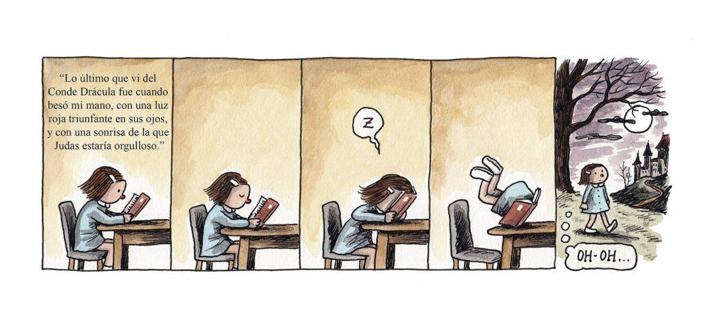El peligro de quedarse dormido mientras se lee un libro...