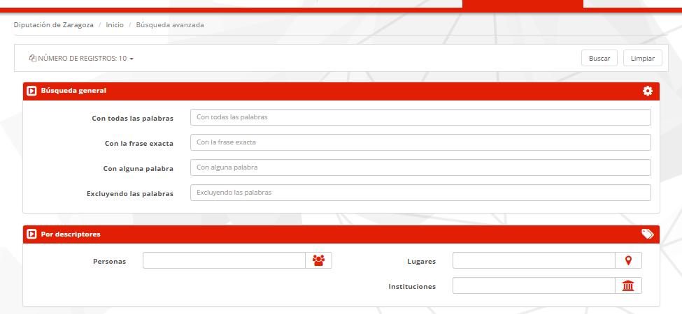 Formulario de búsqueda avanzada - MediaSearch - Diputación de Zaragoza