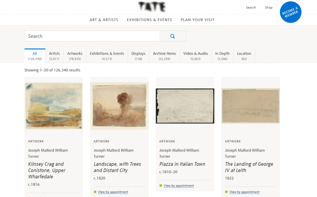 Galería Nacional de Arte británico y Arte moderno en Reino Unido (TATE)