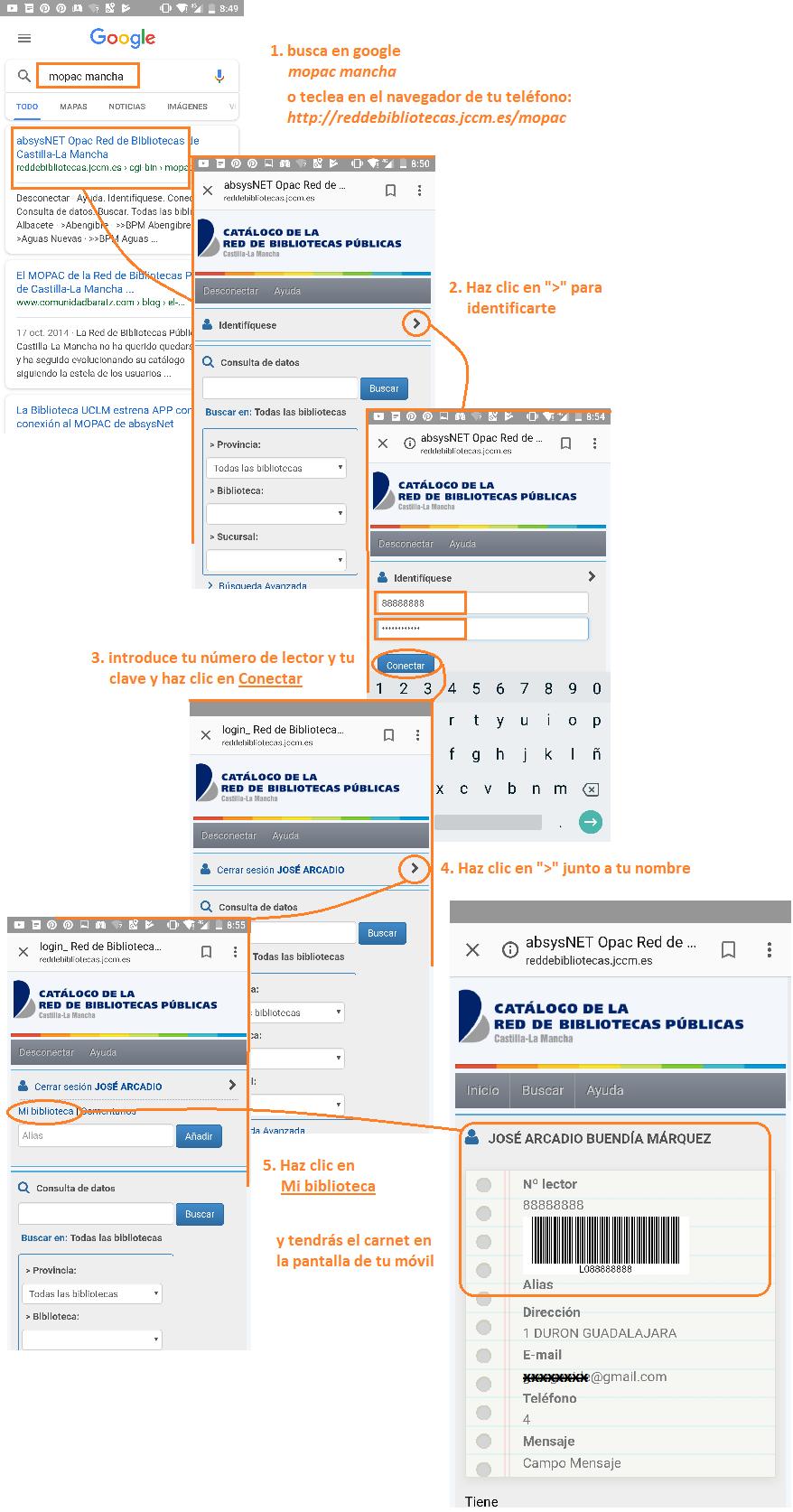 Instrucciones carné móvil bibliotecas Castilla La Mancha