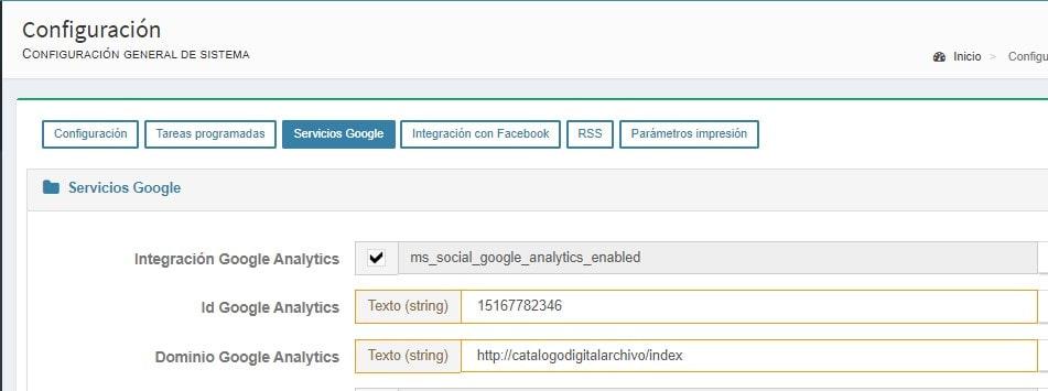 La integración de MediaSearch con Google Analytics se hace desde el propio panel de administrador de la herramienta