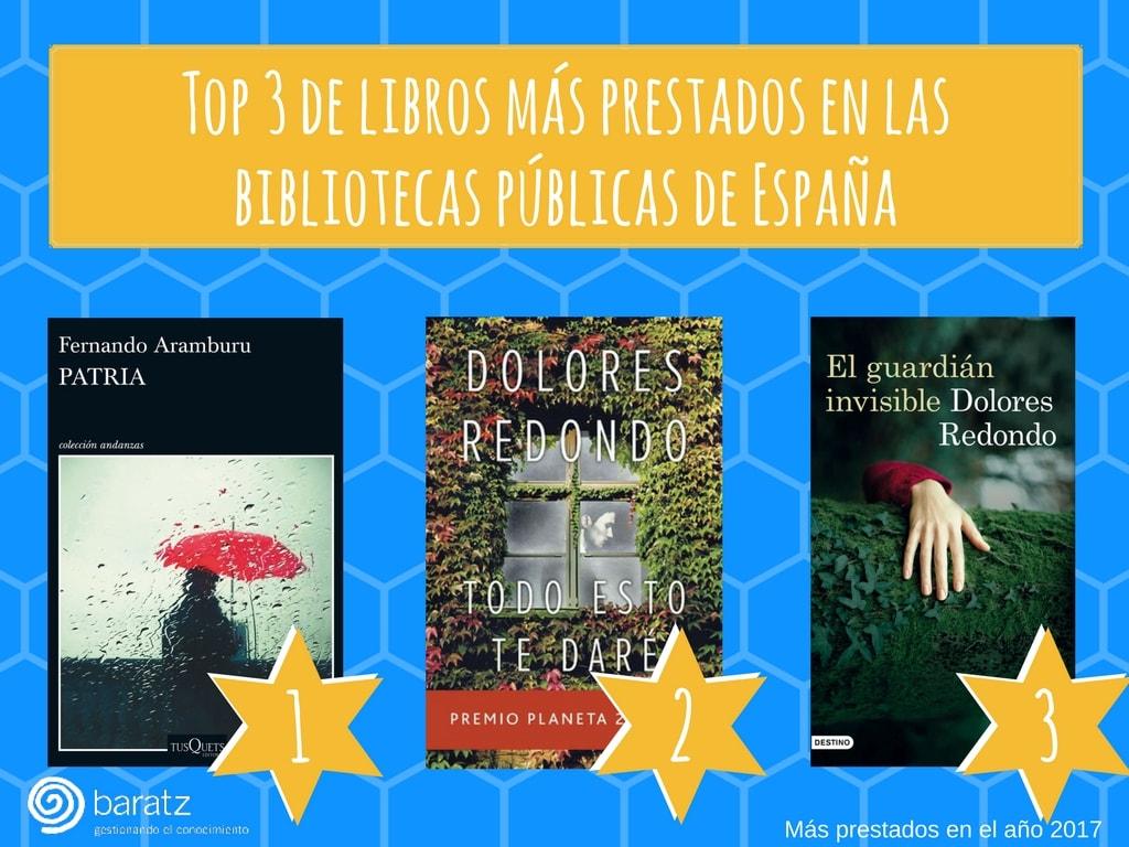 Los 3 libros más prestados en las bibliotecas públicas de España 2017