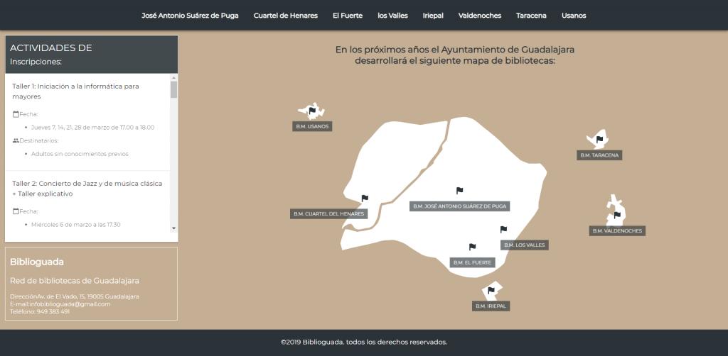Mapa de bibliotecas de Guadalajara