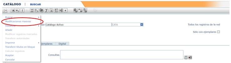 Modificaciones masivas registros AbsysNet biblioteca 2