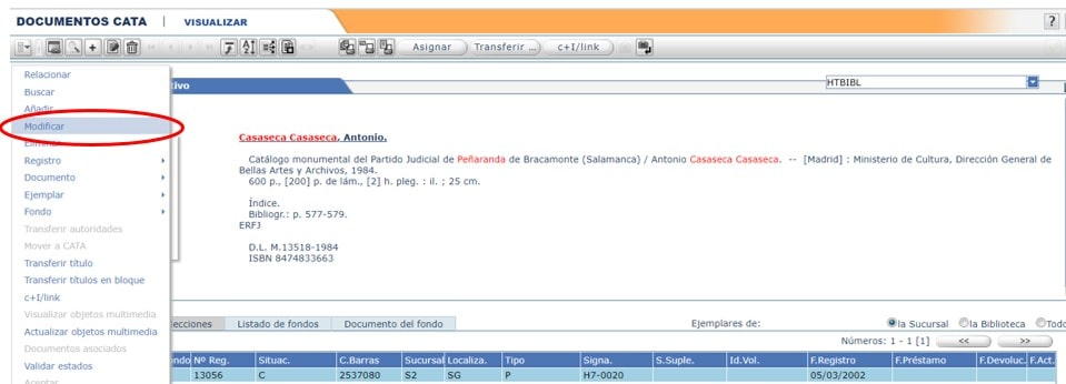 Modificar las catalogaciones de otras bibliotecas AbsysNet