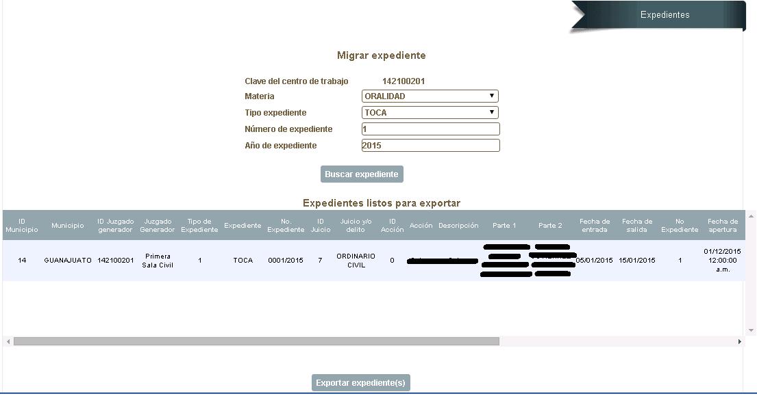 Módulo de Exportación de expedientes - Poder Judicial de Guanajuato 2