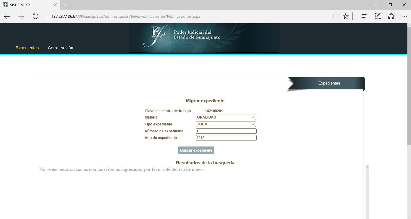Módulo de Exportación de expedientes - Poder Judicial de Guanajuato