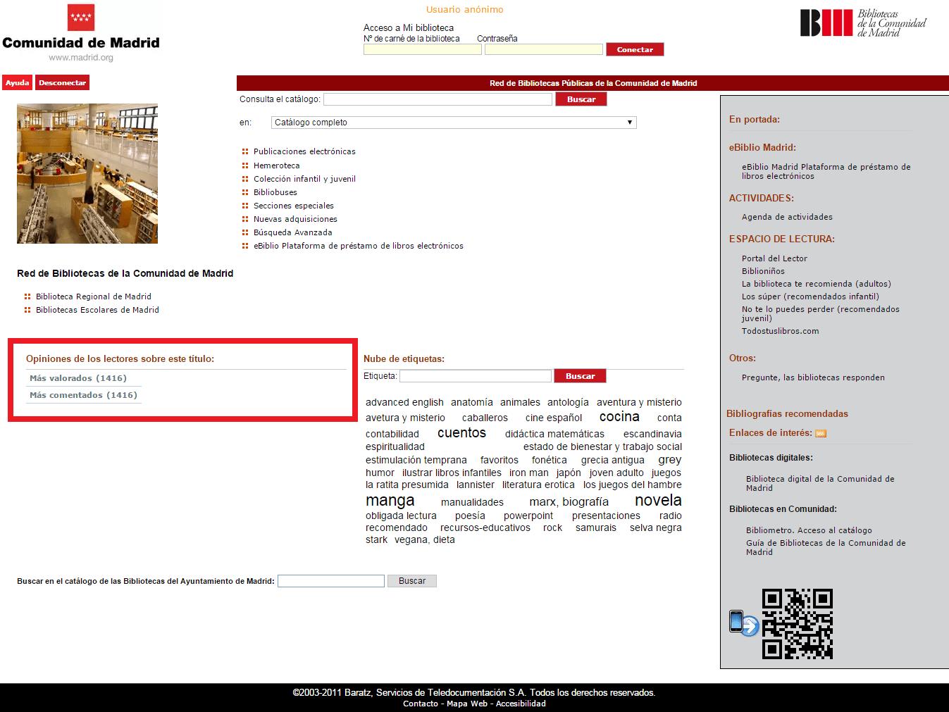 Opac AbsysNet bibliotecas Madrid - Más valorados y comentados