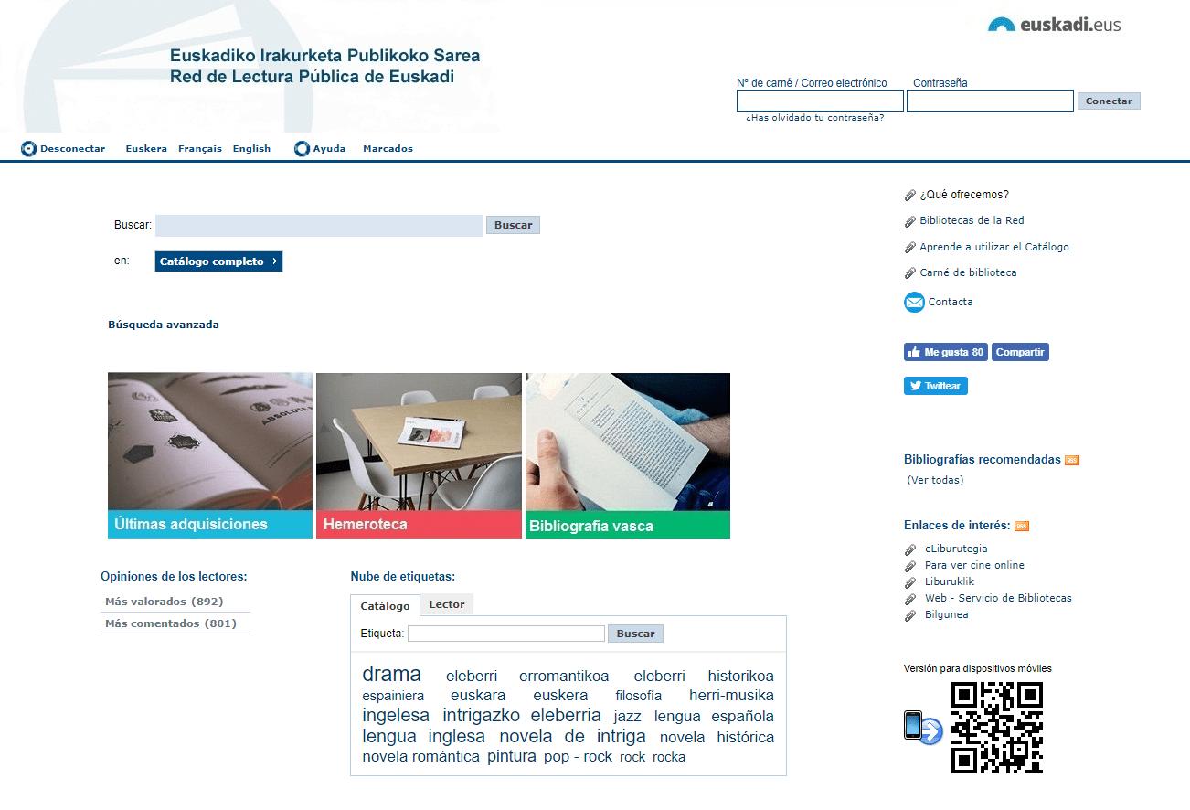Opac Red de Lectura Pública de Euskadi