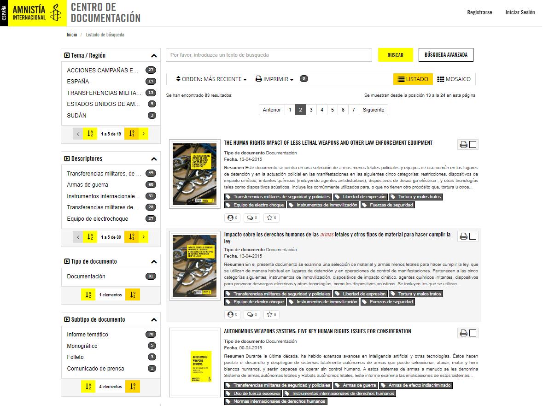 Resultado de búsqueda Centro de Documentación de Amnistía Internacional España - Modo vista listado