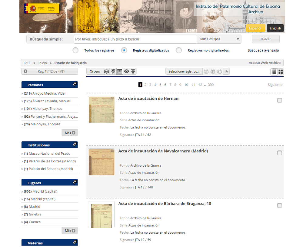 Resultados de búsqueda en el Archivo online del Instituto del Patrimonio Cultural de España