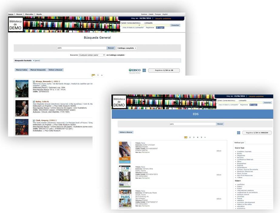 Se ha logrado una integración plena entre el catálogo de AbsysNet y los servicios de EDS