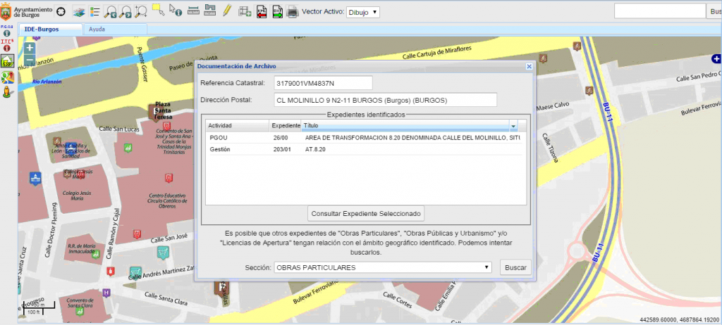 Visor cartográfico del Ayuntamiento de Burgos - Búsqueda y consulta de expedientes